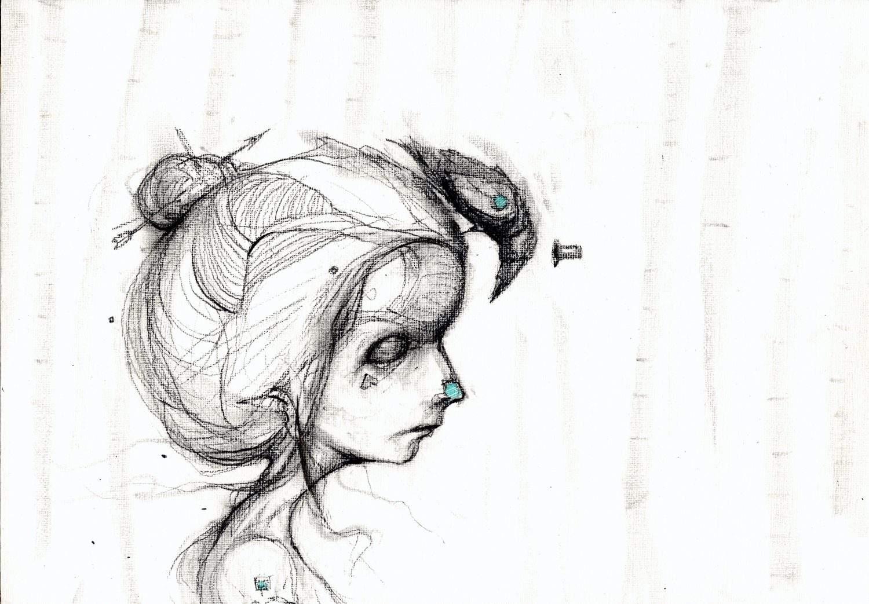 meisje met zwarte raaf
