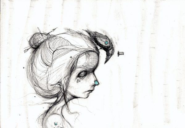 meisje met zwarte raaf © Serge Kortenbroek