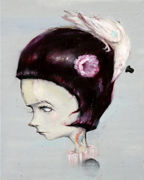 meisje met albino raaf giclee print © Serge Kortenbroek